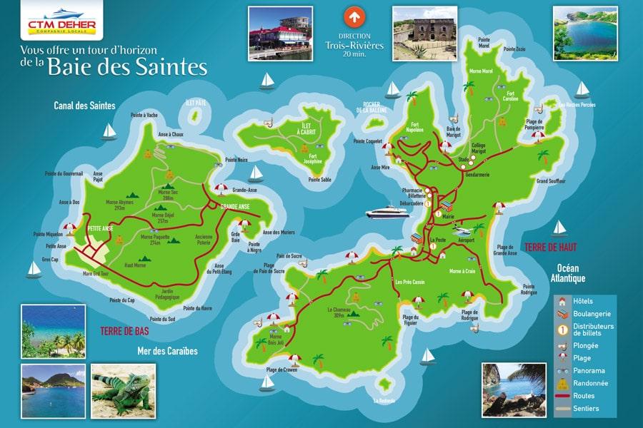 Carte des Saintes : lieux à visiter