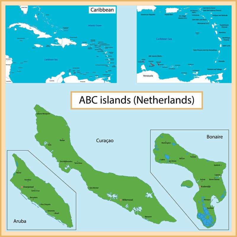 Iles ABC : cartes des îles aux Caraïbes dans la mer des Antilles