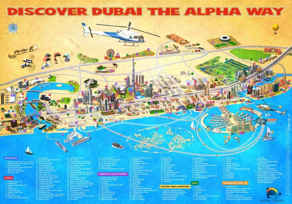 Carte des lieux à visiter à Dubai et ce qu'il faut faire et voir