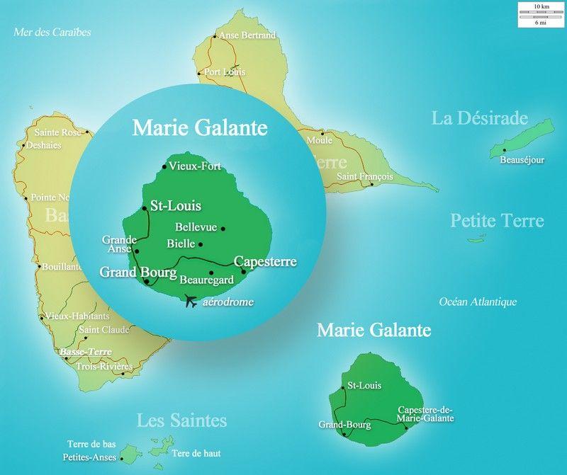 Carte de Marie Galante et de Guadeloupe