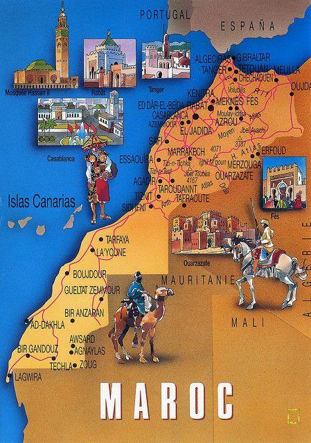 carte touristique du Maroc sur les lieux touristiques à visiter : où aller