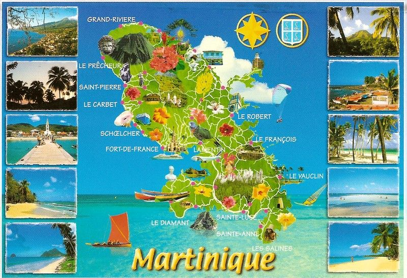 cCarte touristique de la Martinique sur les lieux à visiter