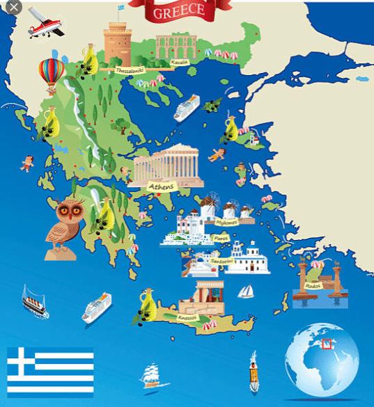 carte touristique de la Grèce pour savoir ou aller pendant son voyage