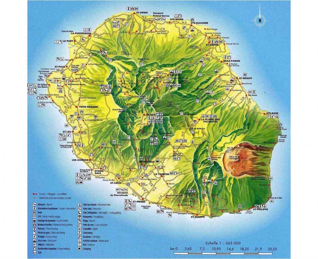 Carte touristique de la Réunion : les lieux à visiter