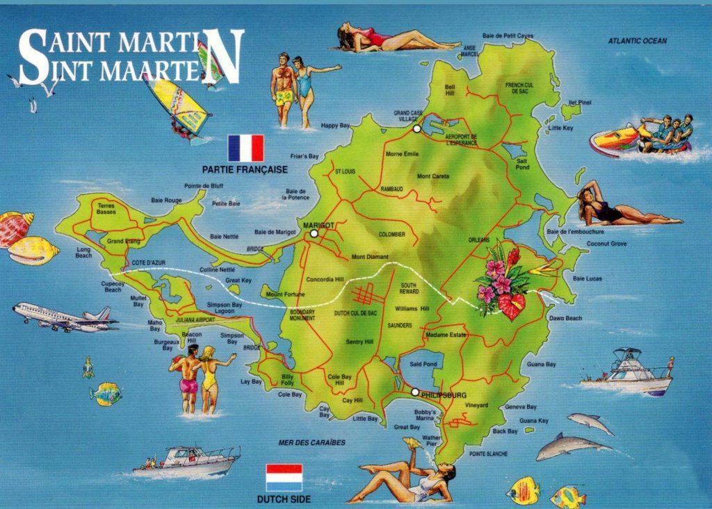 Carte touristqie de Saint Martin sur ce qu'il faut faire et visiter