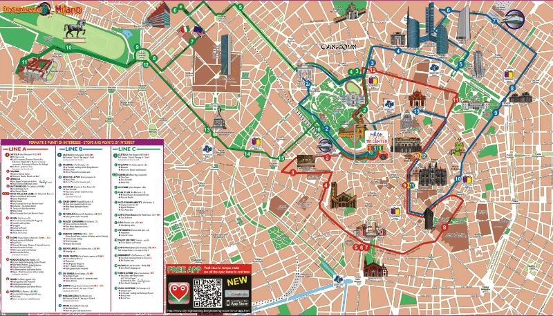 Carte touristqiue de Milan sur les lieux  à visiter : ce qu'il faut faire