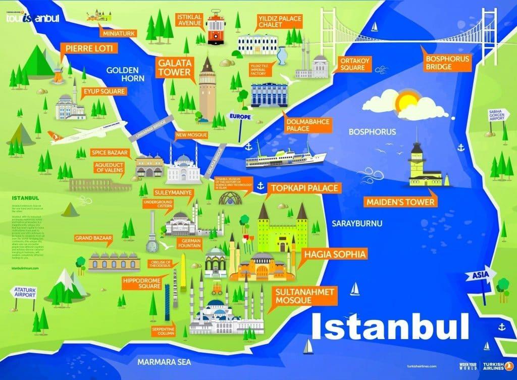 Istanbul carte : les lieux et endroits à visiter
