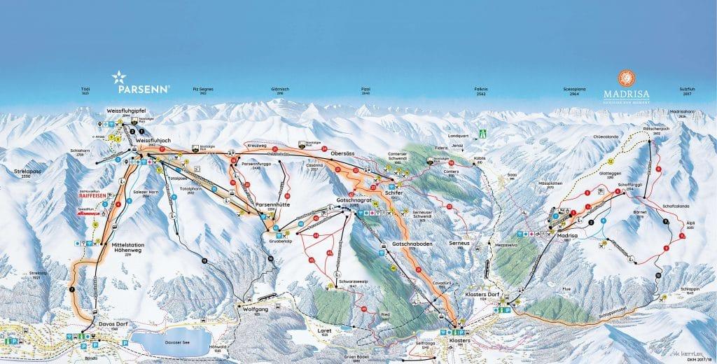 Pistes Parsenn Davos Kloster : plan et carte