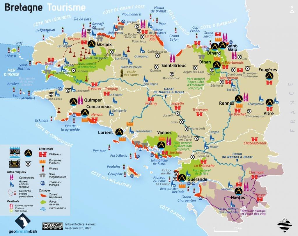 Carte touristique de Bretagne