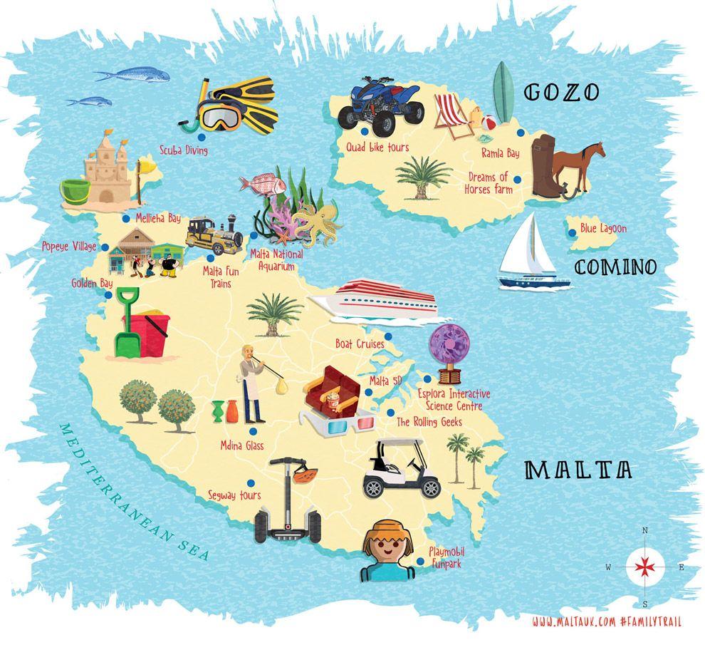 carte touristique des lieux à visiter à Malte