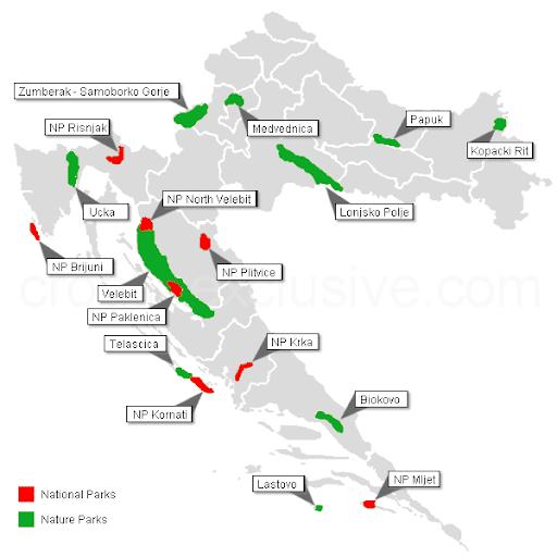 Carte des parcs et reserves nationaux en Croatie