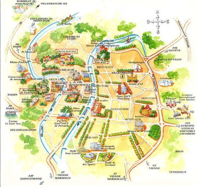 Carte touristique de Lyon : les lieux à visiter