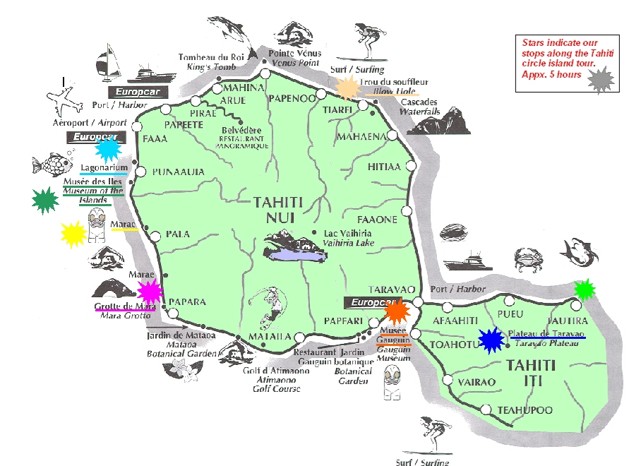 carte touristique Tahiti : les lieux à visiter