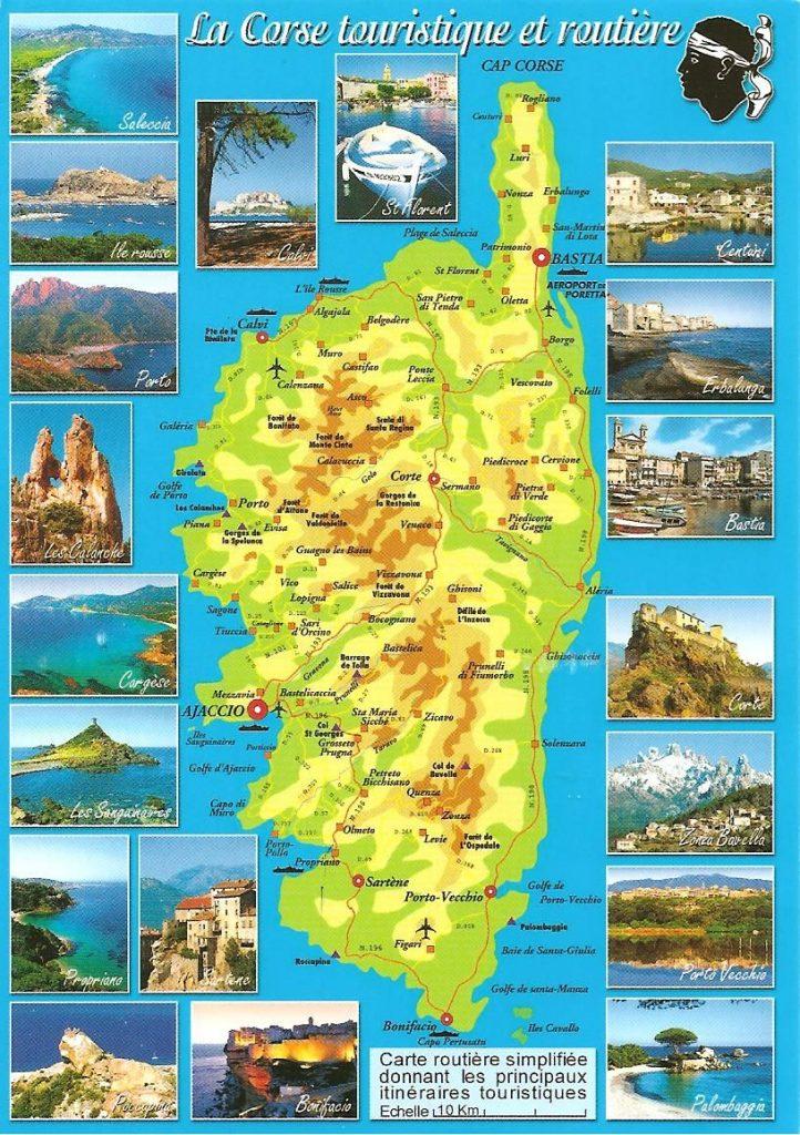 Carte touristique des lieux à visiter en Corse