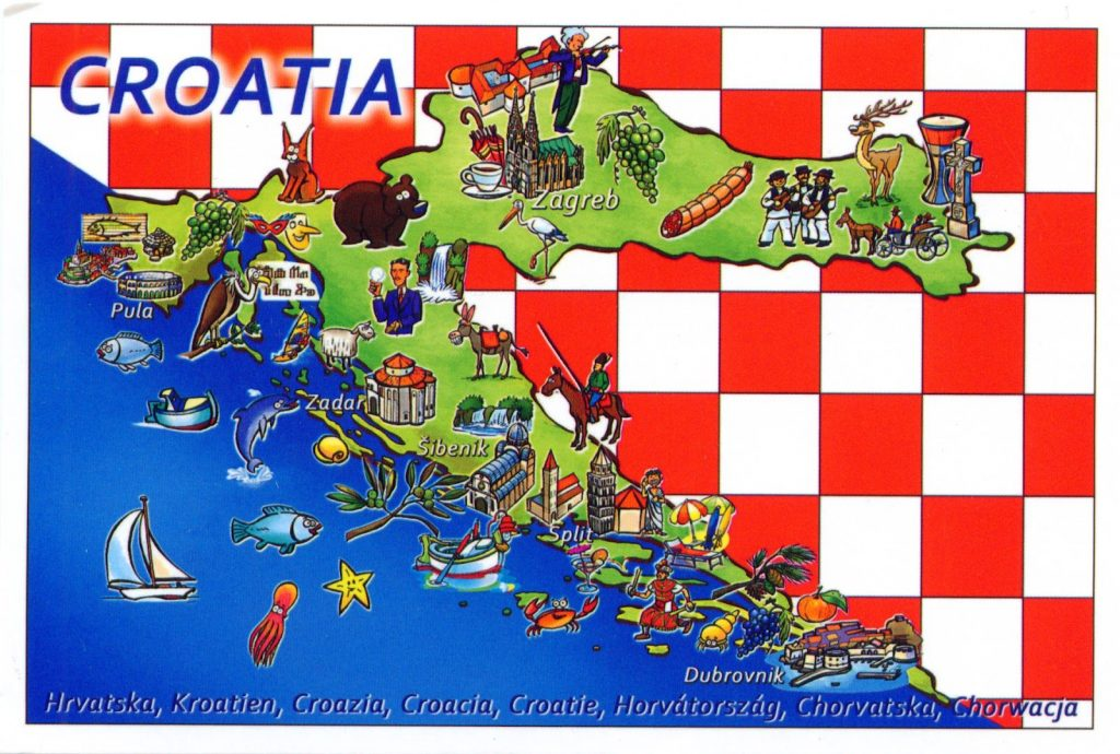 Carte des activités touristiques à faire en Croatie