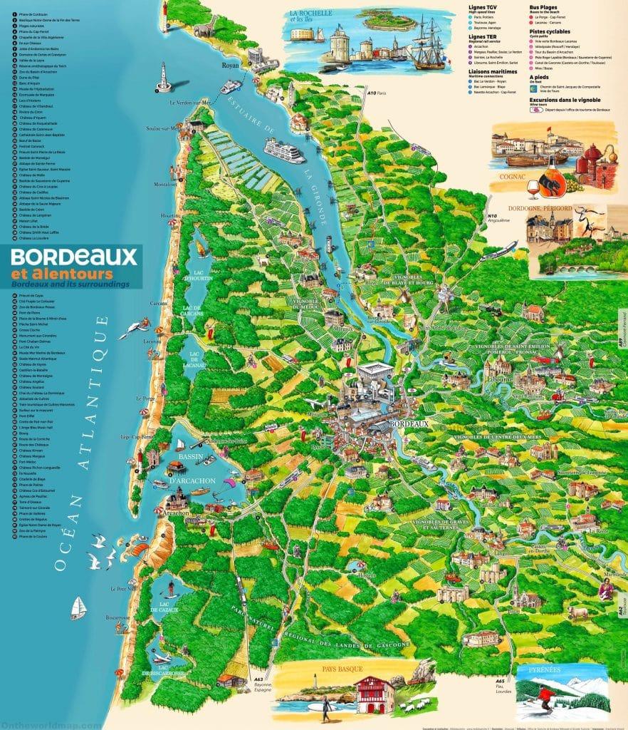 Carte touristique de Bordeaux . Les lieux à visiter .
