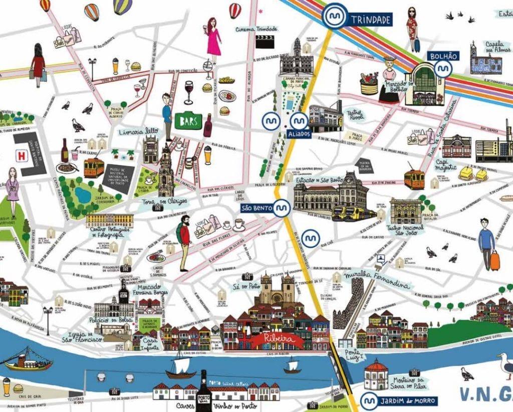 Carte des lieux touristique à visiter à Porto