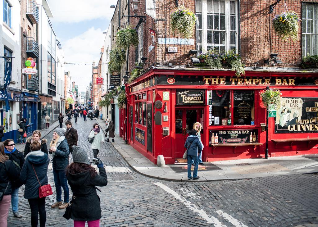 Quartier animé de Temple Bar à Dublin