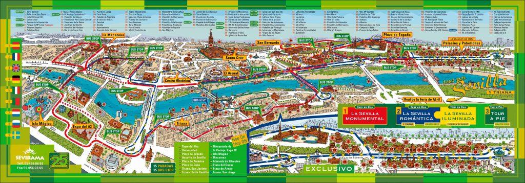 Carte touristique Seville, ce qu'il faut voir et visiter