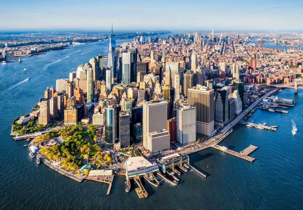 Vue aérienne de New York en juin