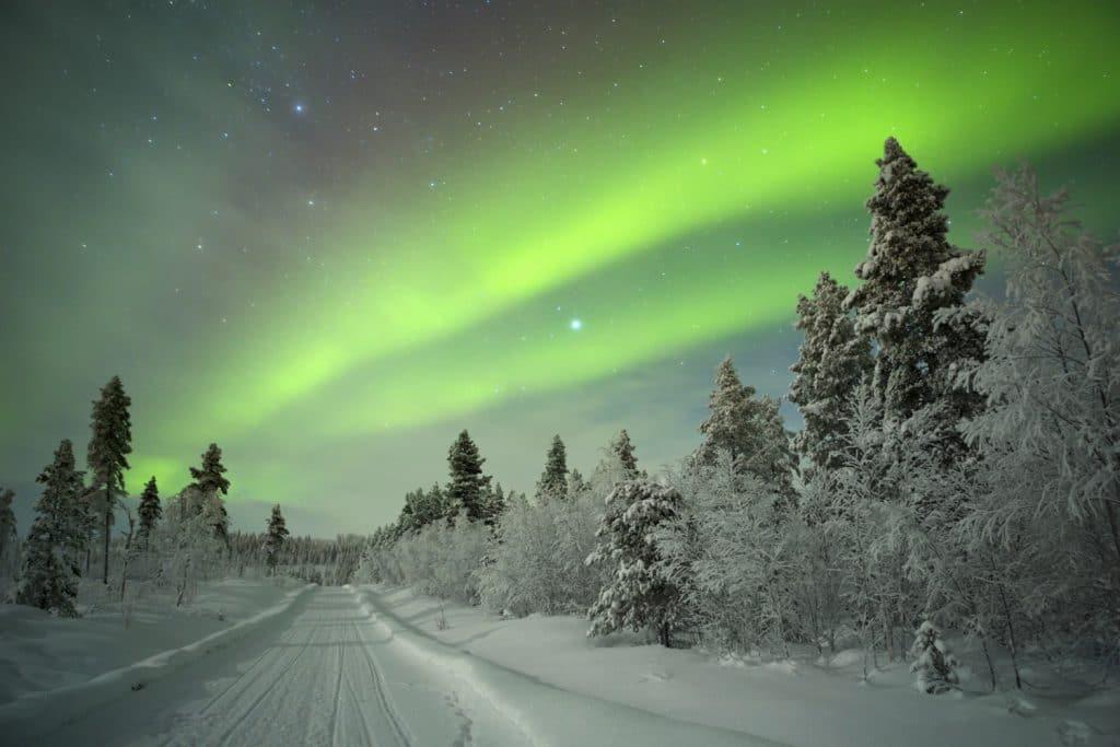 Aurore Boréale en Finlande en Hiver
