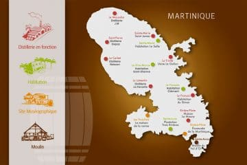 Carte des distilleries de rhum en Martinique
