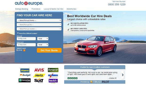 Comparer les meilleurs tarifs pour la location d'une voiture avec  le site internet Auto Europe