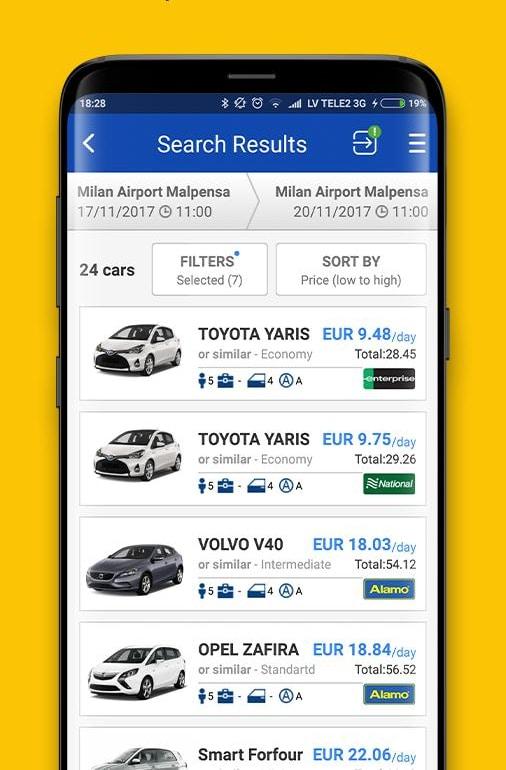 Application mobile pour comparer les prix pour une location voiture : Economy Booking