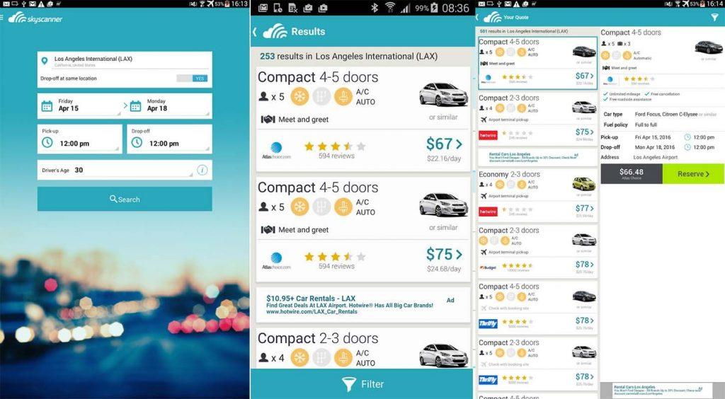 Location de voiture pas cher avec le site comparateur de prix Skyscanner