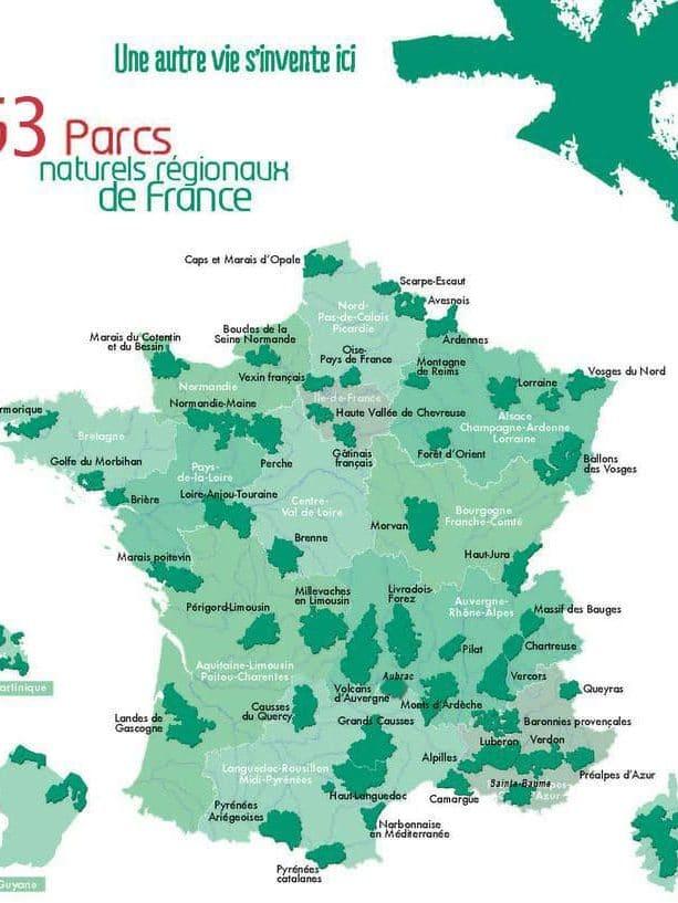 Carte des parcs régionaux et nationaux en France